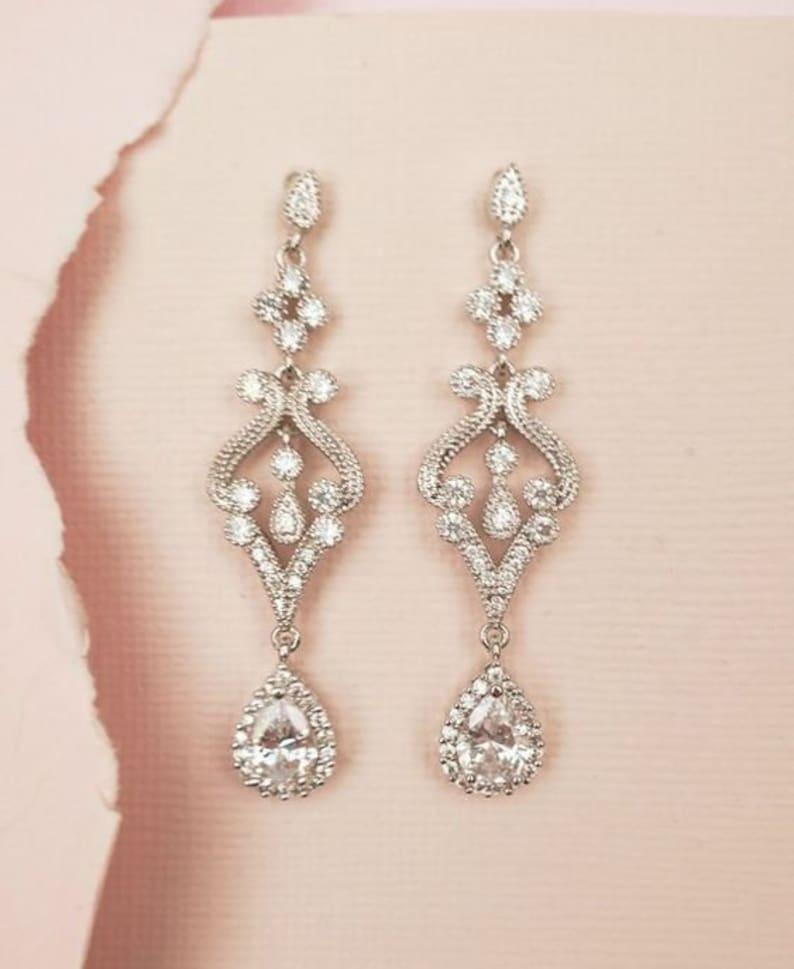b80a1ac1b Bridal Earrings Drop Crystal Wedding Earrings Art Deco Bridal | Etsy