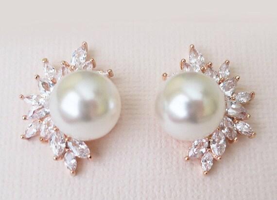 Wedding Earrings Rose Gold Bridal Earrings Pearl Diamond  d1bd446a0
