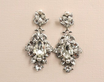 Crystal Bridal Earrings, Vintage Style Wedding Earrings, Wedding Jewelry for Brides