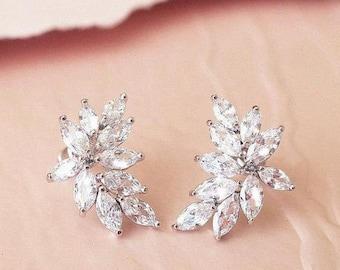 Crystal Bridal Earrings Wedding Jewelry Leaf Earrings, Bridal Jewelry Cluster Wedding Earrings, Vintage Deco Style Glamorous Earrings