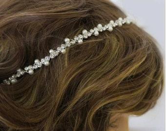 Bridal Headband Boho, Art Deco Hair Accessories, Simple Thin, Bohemian Forehead Circlet Halo, Crystal Headband Wedding