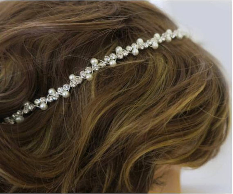 Bridal Headband Boho Art Deco Hair Accessories Simple Thin image 0