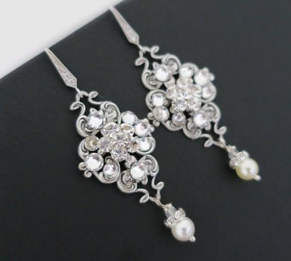 Braut Ohrringe Vintage Hochzeit Ohrringe Baumeln Ohrringe Etsy