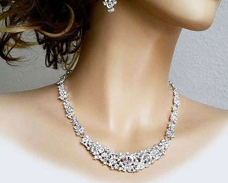 Bridal Jewellery Set Pearl Rhinestone Necklace Long Earrings image 0