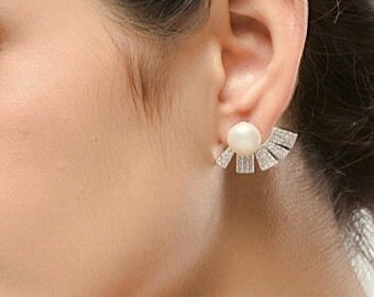 Black Crystal Bridal Earrings, Wedding Earrings for Brides Pearl Fan Art Deco Earrings, Wedding Jewelry