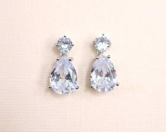 """CZ Bridal Earrings, Teardrop Cubic Zirconia Wedding Earrings, Silver Cluster Dangle CZ Earrings, Wedding Jewelry for Brides, 1"""" Long"""