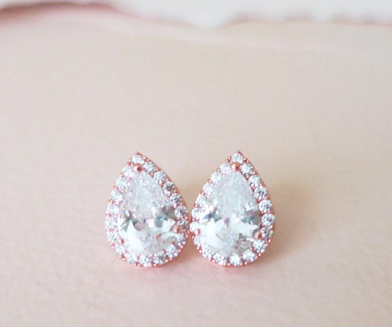 Bridal Earrings Rose Gold Studs Teardrop Wedding Earrings Cubic Zirconia /& Nickel Free