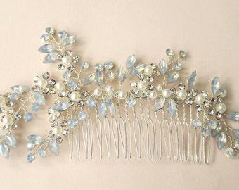 Opal Crystal Pearl Bridal Hair Comb, Opal Hair Vine, Wedding Headpiece for Brides