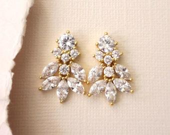 Gold Wedding Earrings for Brides, Leaf Bridal Earrings, Floral Cubic Zirconia Dangle Earrings, Bridal Jewelry, MEILANI, Nickel Lead Free