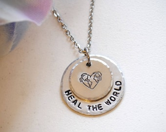 Heal The World small stamped necklace