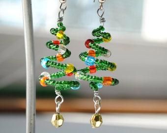 Spiral Christmas Tree Earrings, Glass Beaded Holiday Jewelry