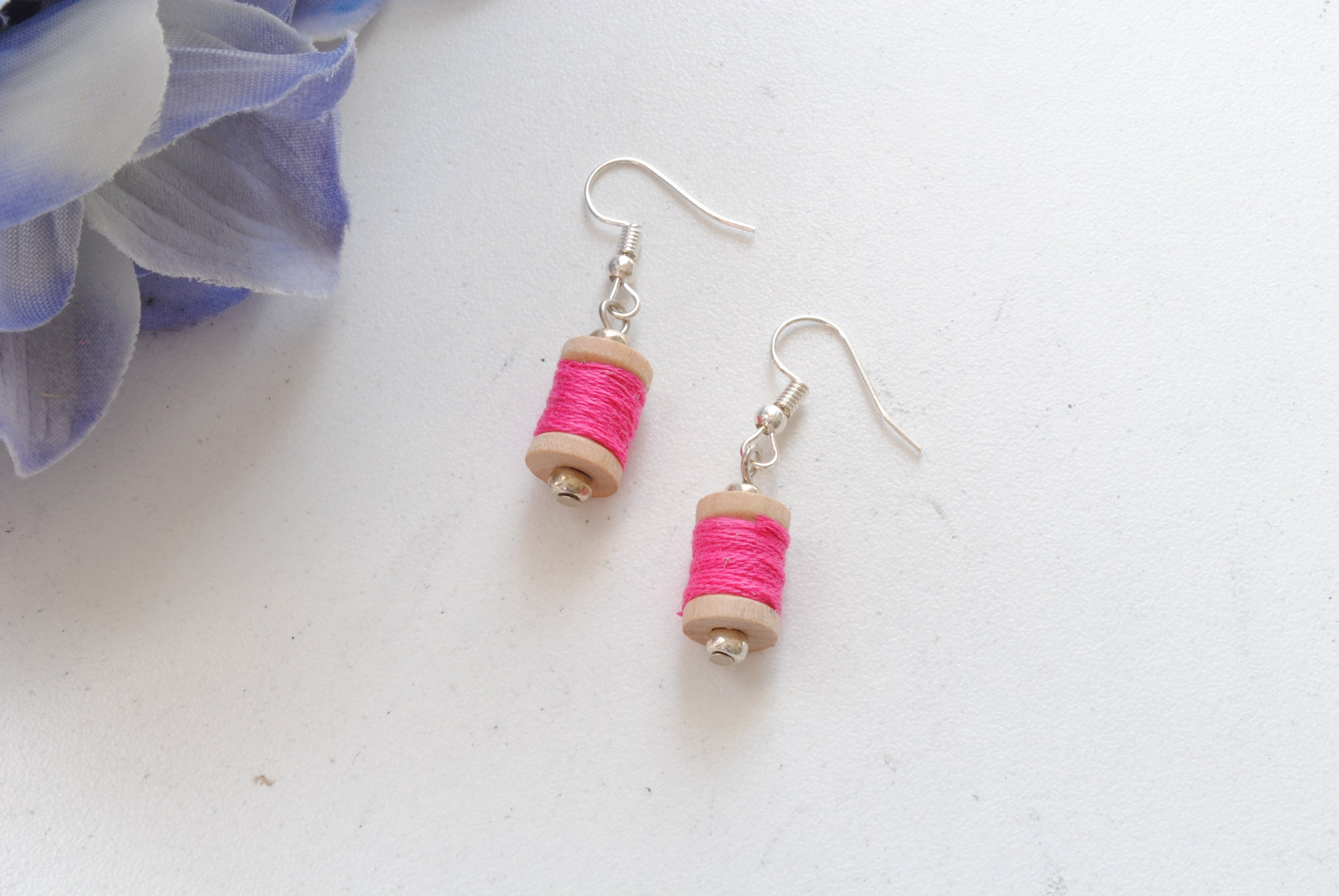 Tiny Spool Of Thread Earrings In Pink Etsy
