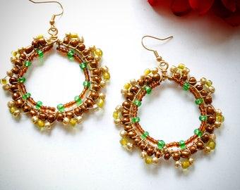 Fall Colors Beaded Earrings