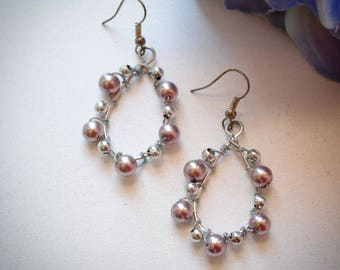 Teardrop Pink and Silver Beaded Earrings