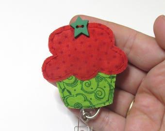 Cupcake Badge Reel, Cupcake Badge Card Holder,Christmas Cupcake, ID Holder, Nursing Name Badge Holder, Badge Reel, Retractable,RTS