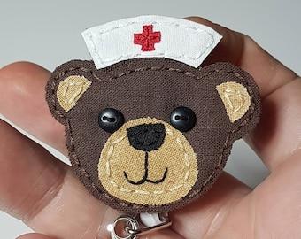 Teddy Bear Badge Reel,Nurse Teddy Bear Badge Reel,Teddy Bear,Nurse,Badge Reel,Nurse Bear, Bear,Brown Bear,Retractable Badge Reel,ID Badge