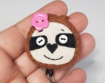 Sloth,Sloth Badge Reel,sloths,hand stitched sloth ,cute sloth,slothy, Sloth Name Badge, Sloth ID Holder,Nurse ID Holder,Sloth,Badge, Lanyard
