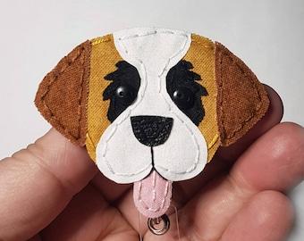 St. Bernard Badge Reel,Dog,Dog Badge Reel,St Bernard Badge Card Holder,Saint Bernard,ID Holder,Nurse Badge Holder,Badge Reel,Retractable
