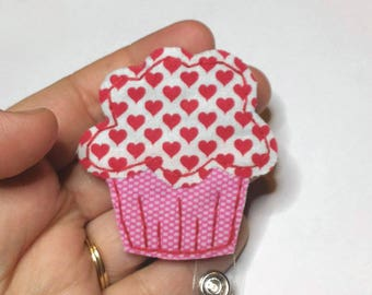 Cupcake Badge Reel,Cupcake Badge Card Holder, Pink,Cupcake, ID Holder, Valentine's Badge Reel,Nurse ID Holder, Badge Reel, Retractable,RTS