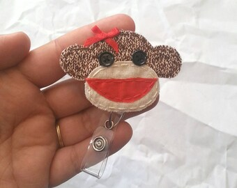 Sock Monkey Badge Reel, Monkey Badge Card Holder, Monkey, Sock Monkey, ID Holder, Nursing Name Badge Holder, Badge Reel, Retractable,Lanyard