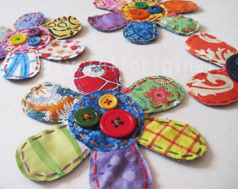 Flower, Flower Applique,Flower Patch, Scrappie Flower, Flower Embellishments, Fabric Flower Patch,Flowers, Fabric Flowers,Multicolor flowers