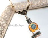 Cheval Blu Tiny Paris Perfume Bottle Necklace Soldered Bottle Jewelry Mixed Media One-of-a-Kind Assemblage Pendant
