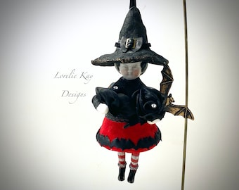 Set 3 Creepy Gothic Girl Halloween Ornaments Paper Doll Chenille Ornaments Girl  Women Feather Tree Ornies Lorelie Kay Original Set 7