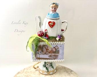 Alice in Wonderland Art Doll Sculpture  Functional Tea Tin Tea Party Found Object Sculpture  Lorelie Kay Original