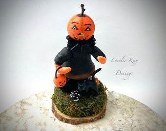 Spun Cotton Pumpkin Girl Decoration Vintage Inspired Art Doll Pumpkin Person & Black Cat Lorelie Kay Original