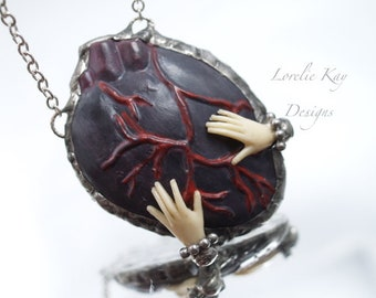 Handle With Care Heart in Hands Necklace Soldered Black Heart Assemblage Pendant Lorelie Kay Original