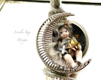 The Celestial Child Pocket Watch Locket Necklace Moon And Stars Tiny Bisque Doll Pendant Lorelie Kay Original