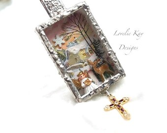 Littlest Angel Necklace Winter Church Deer Christmas Necklace Soldered Box Mixed Media One-of-a-Kind Diorama Pendant