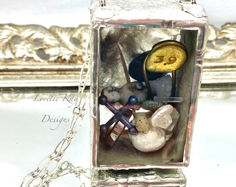 The Curiosity Box Necklace Frozen Charlotte Doll Soldered Diorama Box  One-of-a-Kind Two Sided Pendant Lorelie Kay Original
