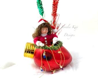 Stringing Up The Lights Spun Cotton Doll Ornament Sugary Sweet Santa Girl Handmade Doll Lorelie Kay Original
