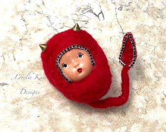 She Devil Girl Brooch Needle Felted Bisque Dolly Head Broach Wearable Doll Face Statement Pin