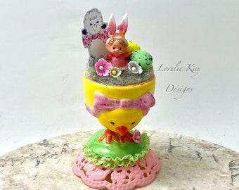 Miniature Retro Bunny Girl Decoration Kitschy Yellow Kitschy Spring Decoration Lorelie Kay Designs