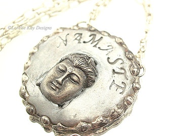 Namaste Buddha Necklace Soldered Buddha Face Pendant One-of-a-Kind Original