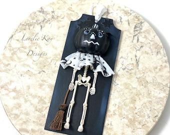Pumpkin Skeleton Halloween Ornament Skeleton With Pumpkin Man Head Ornament Skeleton Halloween Decorations Lorelie Kay Original