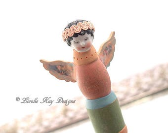 Tiny Angel Art Doll Sculpture  Mixed Media One of a Kind  Assemblage Art Wood Doll Nursery Art Decoration Baby Shower Gift