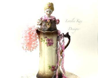 Willow Rose Teapot Art Doll  Mixed Media Assemblage Pink Roses Functional Porcelain Tea Pot OOAK Art Doll