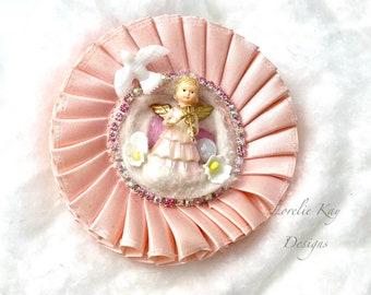 Retro Pink Angel Christmas Brooch Or Ornament Large Girly Rhinestone  Holiday Wearable Art  Broach Lorelie Kay Original