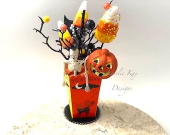 Spooky Treats Halloween Decoration Pumpkin Skeleton Candy Corn Assembalge Lorelie Kay Original