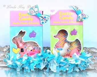 Set 2 Easter Ornaments Vintage Inspired Candy Box Retro Kitschy Ornie Ornament Lorelie Kay Original