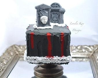 Halloween Fake Cake on Cake Stand Frozen Charlotte Tombstone Graveyard Halloween Art Kitchen Art Lorelie Kay Original