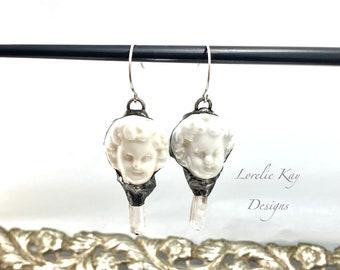 Positive Energy Frozen Charlotte & Crystals Doll Earrings Silver Soldered Organic Earrings Dangle Soldered Earrings