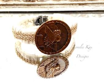 Art Nouveau Angel Antique Button Bracelet Shabby Floral Metal Button Clamper Cuff Bracelet Style Lorelie Kay Original