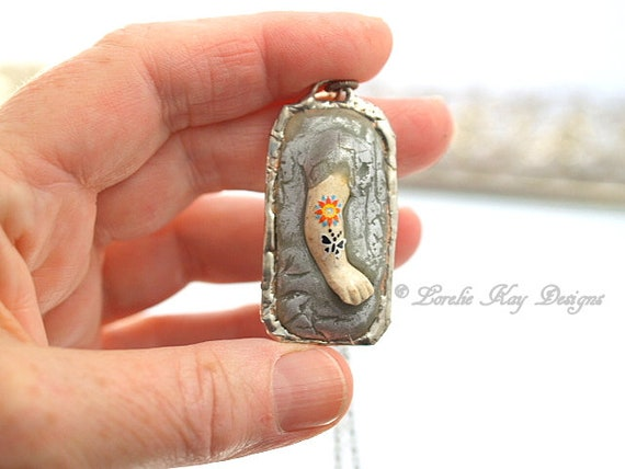 Tattoo Doll Arm Ring Soldered Mixed Media One-of-a-Kind Pendant Lorelie Kay Original