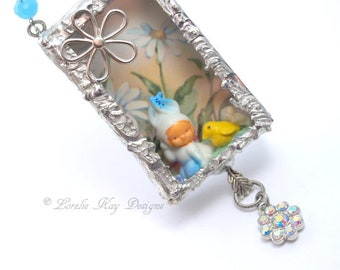 Blue Bunny Necklace Miniature Spring Rabbit Soldered Box Mixed Media One-of-a-Kind Diorama Pendant