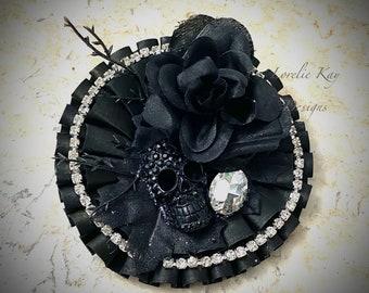 Black Skull Halloween Brooch Or Ornament Large Girly Rhinestone  Holiday Wearable Art  Broach Lorelie Kay Original