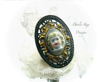 Frozen Charlotte Doll Head Ring Wearable Doll Head Ring Fine Silver Plated Roses Lorelie Kay Designs Doll Jewelry